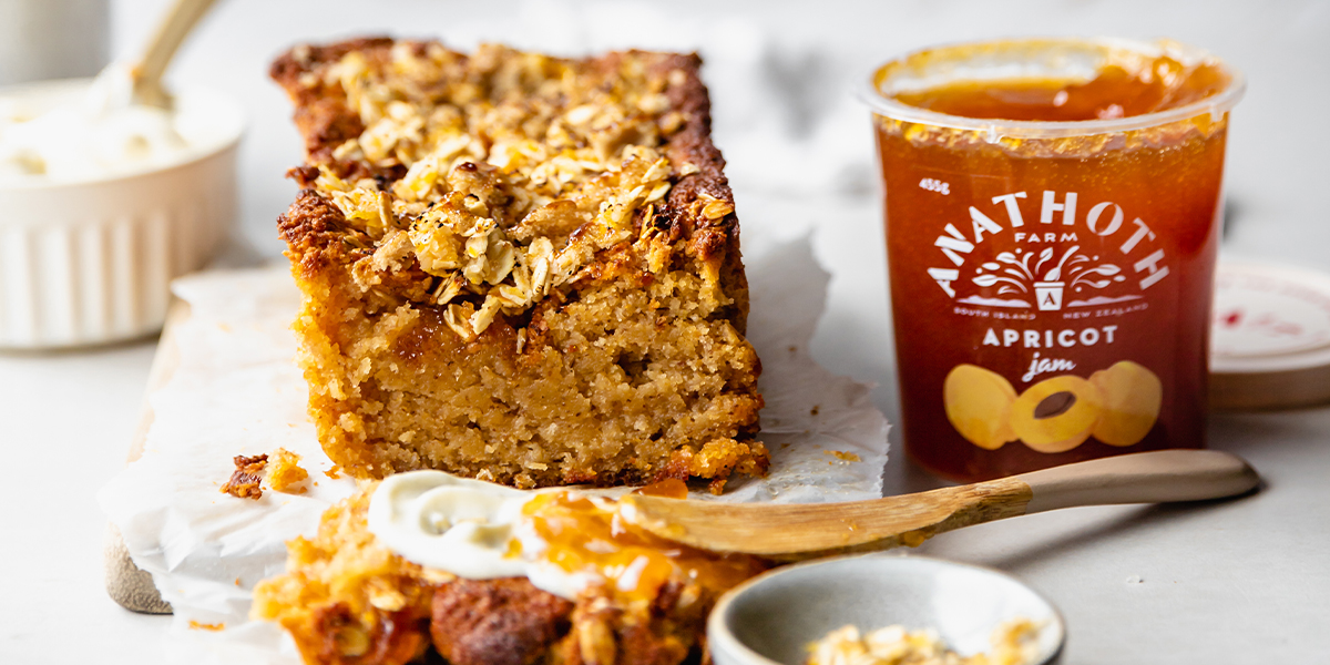 Apricot Loaf Cake with Oaty Coconut Crumble - Anathoth Farm x That Green Olive