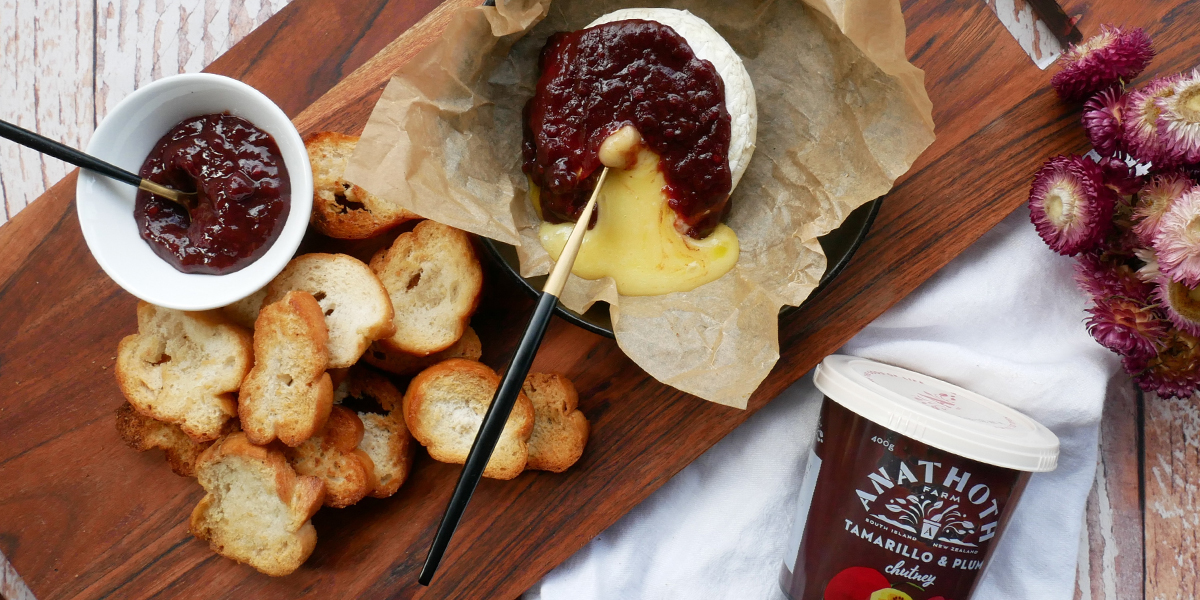Baked Brie with Tamarillo and Plum Chutney