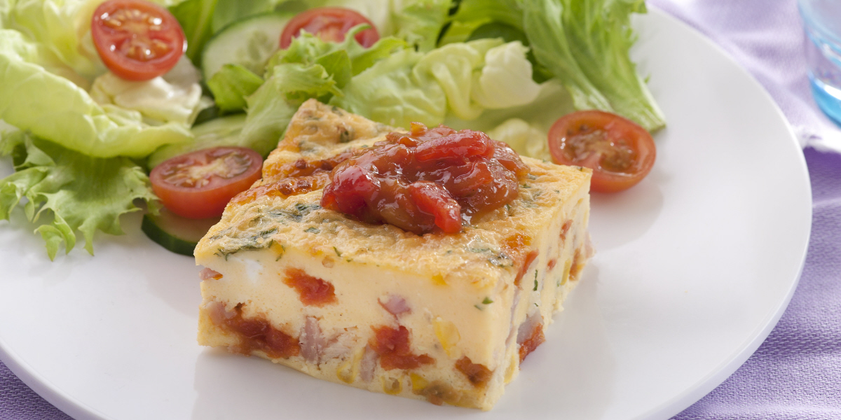 corn bacon tomato frittata