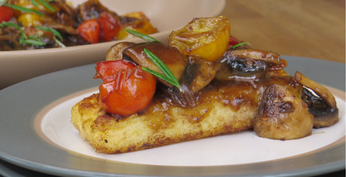 Fried Polenta with Caramelised Mushrooms