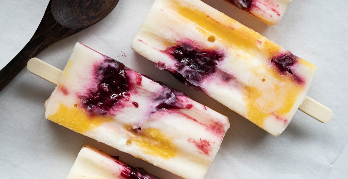 Yoghurt, Boysenberry & Mango Popsicles