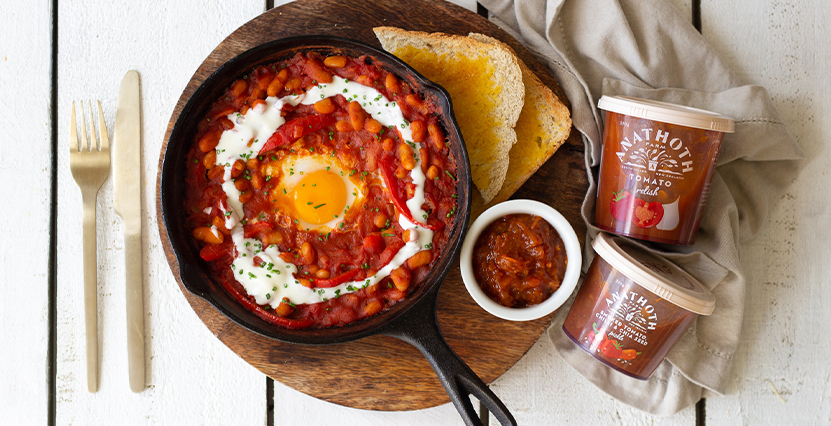 Smokey Tomato Baked Beans with Egg & Toast