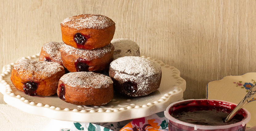 Jam Doughnuts with berry and chia
